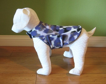 Fleece Dog Coat, Extra Small Purple, Black and White Leopard Print with Black Fleece Lining