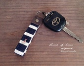 Nautical navy anchor unisex leather keychain key holder gift idea Japan zakka