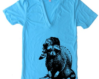 Bad Raccoon Deep V Neck T Shirt - American Apparel Vneck Tshirt - XS S M L Xl (Color Options)