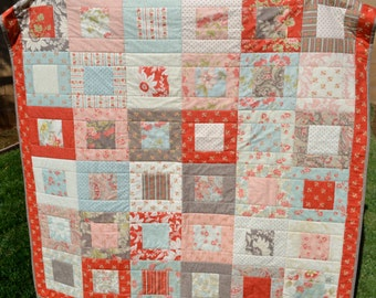 Floral Square In A Square Lap Quilt