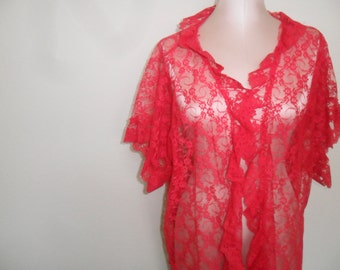 Sheer Lace Robe Dressing Gown Vintage by Mara Intimates