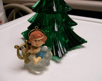 Hallmark  Angel Ornament 1982 Tiny Harp Playing Angel on a Cloud Ornament Vintage Christmas Tree Ornament by Hallmark