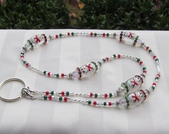 Christmas Snowman ID Badge Bead Lanyard Necklace Red and Green