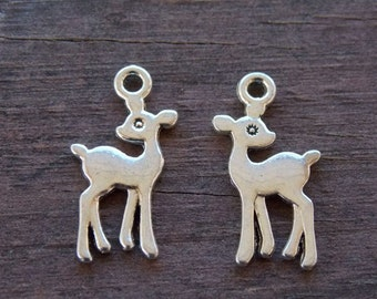 12 Silver Deer Charms 21mm Tiny Silver Deer