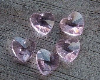 16 Pink Crystal Heart Beads 10mm Faceted Glasss Briolette Heart Beads