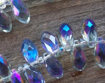8 Ab Blue Grey Crystal Briolettes 12mm Crystal Teardrop Beads