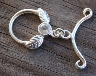 1 Sterling Silver Toggle Clasp Set  With Moonstone 19mm