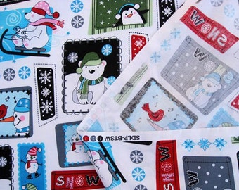 C072  - 1 meter SDLP Cotton fabric -  Cartoon - Snowman, dogs, tree