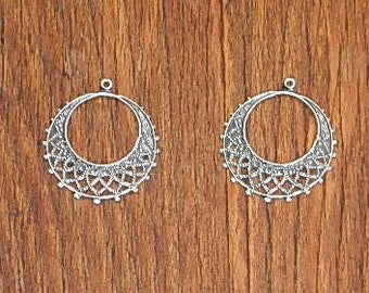 2 Antiqued Silver Plated Brass Filigree Round Earring Dangles Findings Jewelry