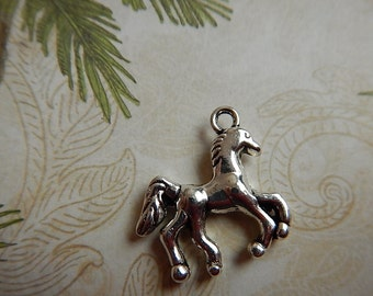 SALE!! 50% OFF!!! Silver Plated Pewter Galloping Horse Charm Two Sided Jewelry