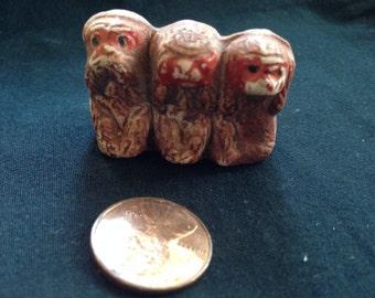 "Vintage Occupied Japan Bankoware Miniature ""See/Speak/Hear  No Evil"" Monkey Trio-1/2 off from 99.00"