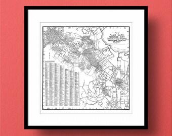 Palo Alto California Map, Redwood City, Mountain View, Atherton, Menlo Park, Los Altos, Fine Art Print, Premium Canvas Gallery Wrap