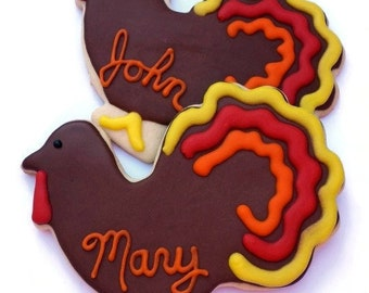 Large Personalized Thanksgiving Turkey Cookies - 2 Cookies - THANKSGIVING PRE-ORDER