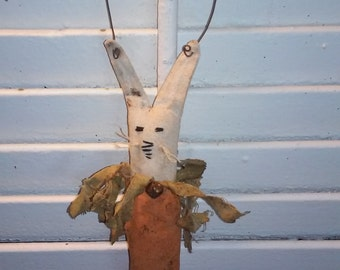 Primitive Easter Bunny Carrot Ornament