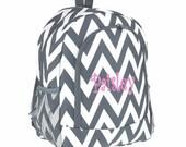 Personalized  Chevron Backpack - Girls Canvas Booksack Gray Zig Zag Full Size School Backpack Monogrammed FREE