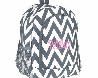 Personalized  Chevron Backpack - Girls Canvas Booksack Gray Zig Zag Full Size School Backpack Monogrammed FREE