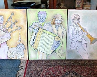 Three Musicians, Three Canvas Paintings, Musicians with Large Eyes, Art Wall Hanging, Home decor
