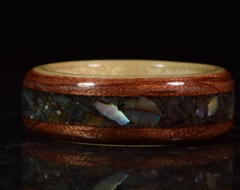 READY TO SHIP size 9 Hand Made Curly Maple & Spanish cedar inayed with Abalone Shell wooden ring
