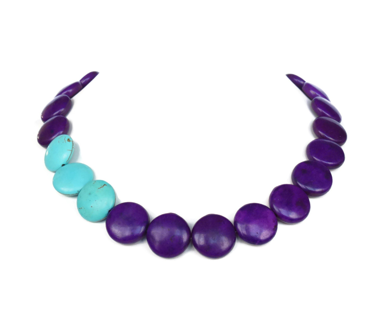 asymmetrical purple turquoise necklace by