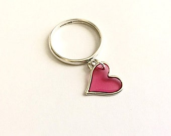 My Pink Resin Heart  - Pink Resin Heart Charm Dangle Sterling Silver Ring