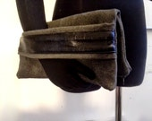 Folded Clutch Grey Ultra Suede with Leather Arm Strap
