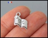 BULK 100 Baby ABC Book Charms - 12mm Silver Baby Toy Alphabet Book Metal Charm Pendant - Instant Ship - USA 6175