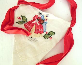 Vintage Handkerchief Christmas Door Hanger Red Green Ladies  70's (item 6)