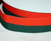 "Orange and Green Belt Mens Orange and Hunter Green Belt Mens Ribbon Belt Dark Green Belt Striped Ribbon Adult Belt 1.5"" Belt"