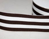 "Brown and White Belt Striped Ribbon Preppy Adult Belt 1.5"" Belt"