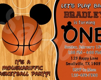 Mickey Mouse Basketball Birthday Invitation (MM02)