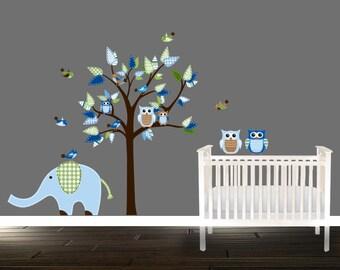 boys Owl Wall Decals, blue Nursery Decals, tree wall decal, blue owl wall decals, Owl nursery wall decal