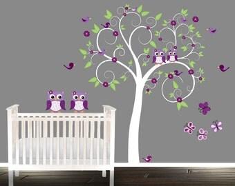 Wall Tree Decal, nursery tree, Owl Tree Decals, owl stickers, owl tree wall decal, purple, lavender