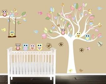 Vinyl Tree Decal, Nursery wall art, owl wall decals for children, custom colors