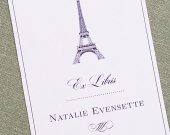 Eiffel Tower Bookplate Francophile Gift, Personalized,Set of 24