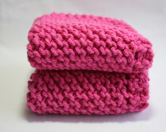 Handknit Cotton Dish Cloths - Wash Cloths - Set of Two