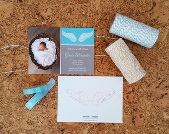 Little Angel/Little Miracle - Photo Birth Announcement