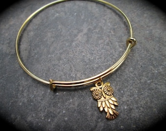 Gold Owl Adjustable Bangle Bracelet