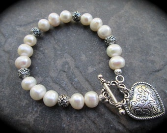 "Freshwater pearl puffed heart bracelet with filigree heart charm and toggle clasp 7 1/2"" Wedding Jewelry"