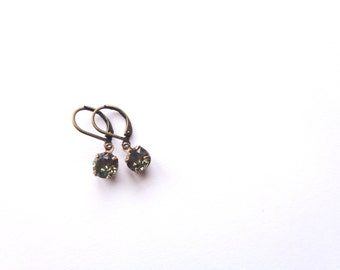 Little Black Glass Gem Earrings.  Brass Round Gem Earrings. Black Diamond Style.
