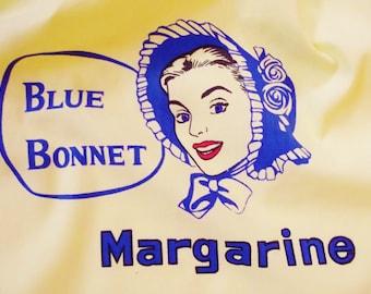Vintage Apron, Yellow Cotton Apron, Blue Bonnet, Advertising Promo, Mad Men, Retro Apron, Rockabilly