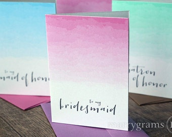 To My Bridesmaid, Wedding Party Thank You Cards- Ombre Flower Girl Card, Matron or Maid of Honor, House Party, Bridesman (Set of 6) CS11