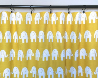 Yellow Elephant Curtain Panels. 63, 84, 96, 108, 120 Lengths. Corn Yellow Window Treatments. Drapery Curtains.