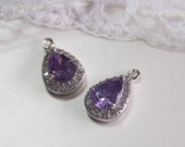 2 Pcs - Small Silver Plated Amethyst Colored Cubic Zirconia, Teardrop,Waterdrop Setting, Pendant,Necklace, Bridal Jewelry (13x7MM) 1014SS1