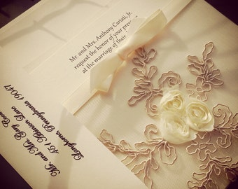 French Lace Sleeve Wedding Invitation - 9 colors