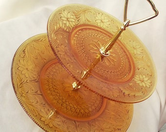 Vintage Amber Tiara Glass Two Tier Tidbit Tray or Sandwich Tray by Indiana Glass