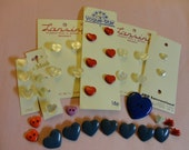 Buttons - Vintage & New - Lot of 36 Heart Buttons - 7 solid blue glass, 14 Faux Mother of Pearl, 2 pearl, 6 red and 7 mix color plastic