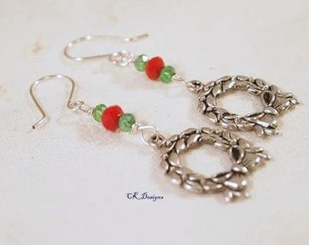 SALE Christmas Earrings, Wreath Charms, Beaded Dangle Pierced Earrings. Silver, Red and Green. CKDesigns.us
