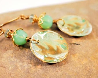 Brass Hand Embossed Earrings, Czech Glass, Patina Brass Dangle Pierced Earrings. OOAK Handmade Earrings. CKDesigns.US