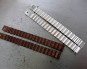2 CORRUGATED PLANKS 3 Inch x 1/4 Inch Connectors, Dangles, Choice of Metal and Patina, Made to order Components