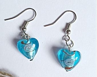 Blue Glass Earrings - Blue Heart Earrings - Silver Plated - Gift For Mum,Sister,Girlfriend,Birthday